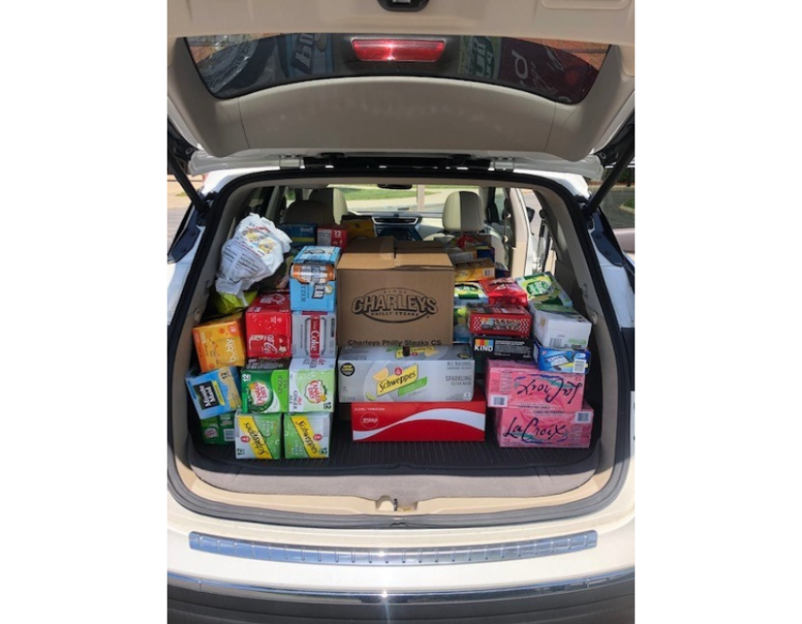 car full of food donations